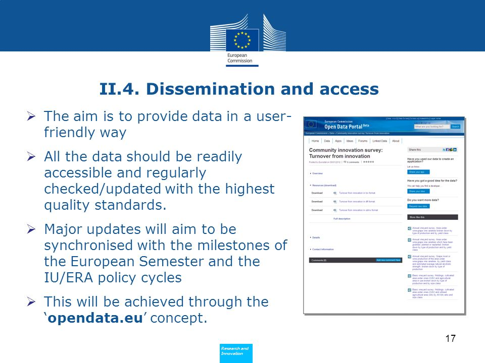 Research and Innovation Research and Innovation II.4. Dissemination and access The aim is to provide data in a user- friendly way All the data should