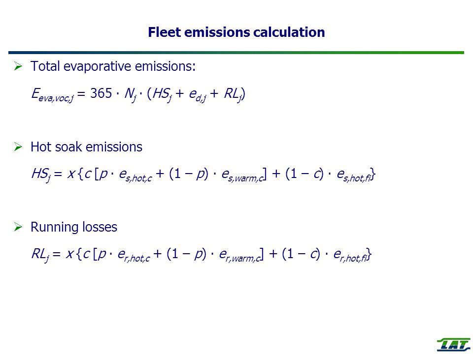 Fleet emissions calculation Total evaporative emissions: E eva,voc,j = 365 N j (HS j + e d,j + RL j ) Hot soak emissions HS j = x {c [p e s,hot,c + (1 – p) e s,warm,c ] + (1 – c) e s,hot,fi } Running losses RL j = x {c [p e r,hot,c + (1 – p) e r,warm,c ] + (1 – c) e r,hot,fi }