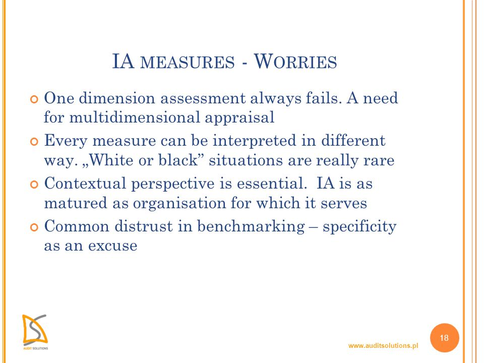 www.auditsolutions.pl 18 IA MEASURES - W ORRIES One dimension assessment always fails. A need for multidimensional appraisal Every measure can be inte