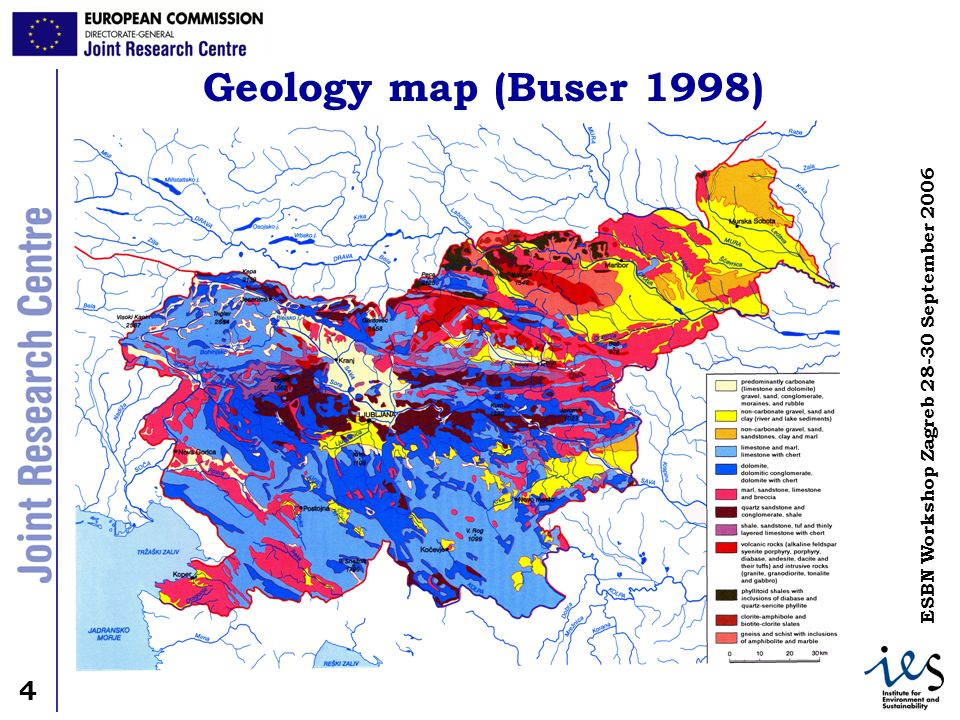 4 4 ESBN Workshop Zagreb September 2006 Geology map (Buser 1998)
