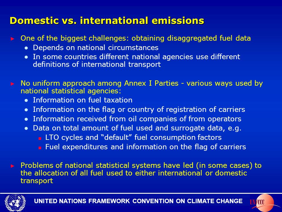 UNITED NATIONS FRAMEWORK CONVENTION ON CLIMATE CHANGE Domestic vs.