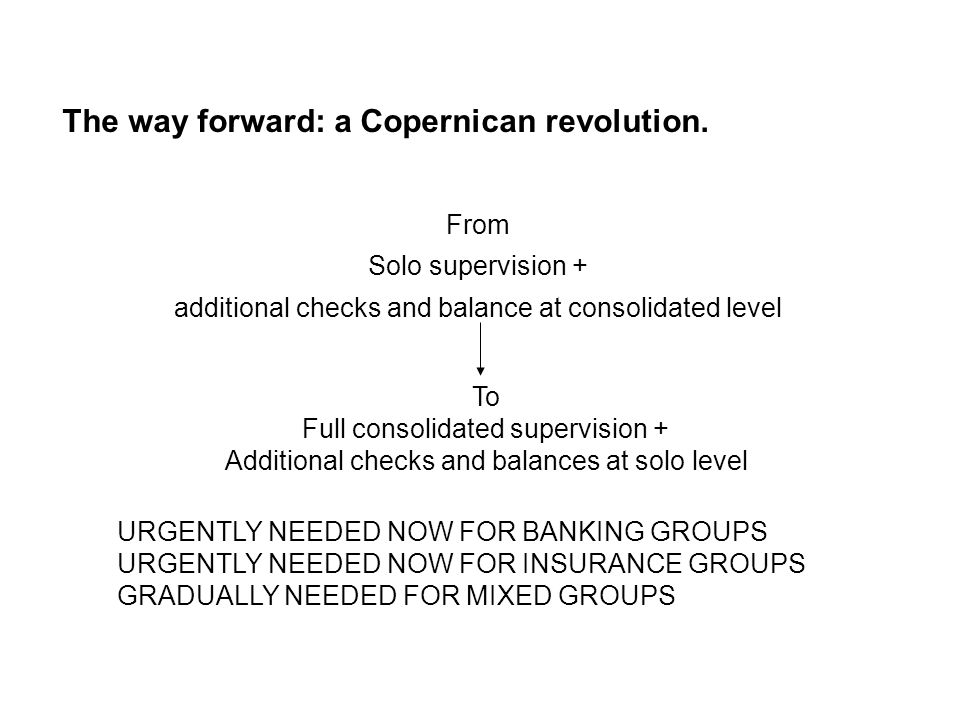 The way forward: a Copernican revolution. From Solo supervision + additional checks and balance at consolidated level To Full consolidated supervision