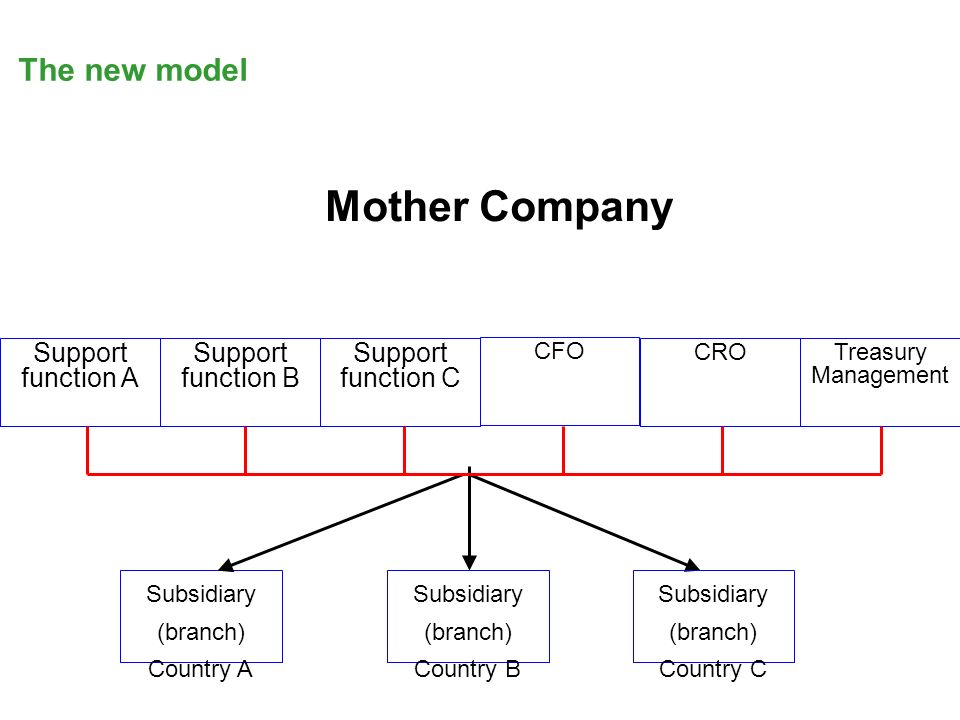 Support function A Support function B Support function C CFO CROTreasury Management Subsidiary (branch) Country A Mother Company Subsidiary (branch) Country C Subsidiary (branch) Country B The new model