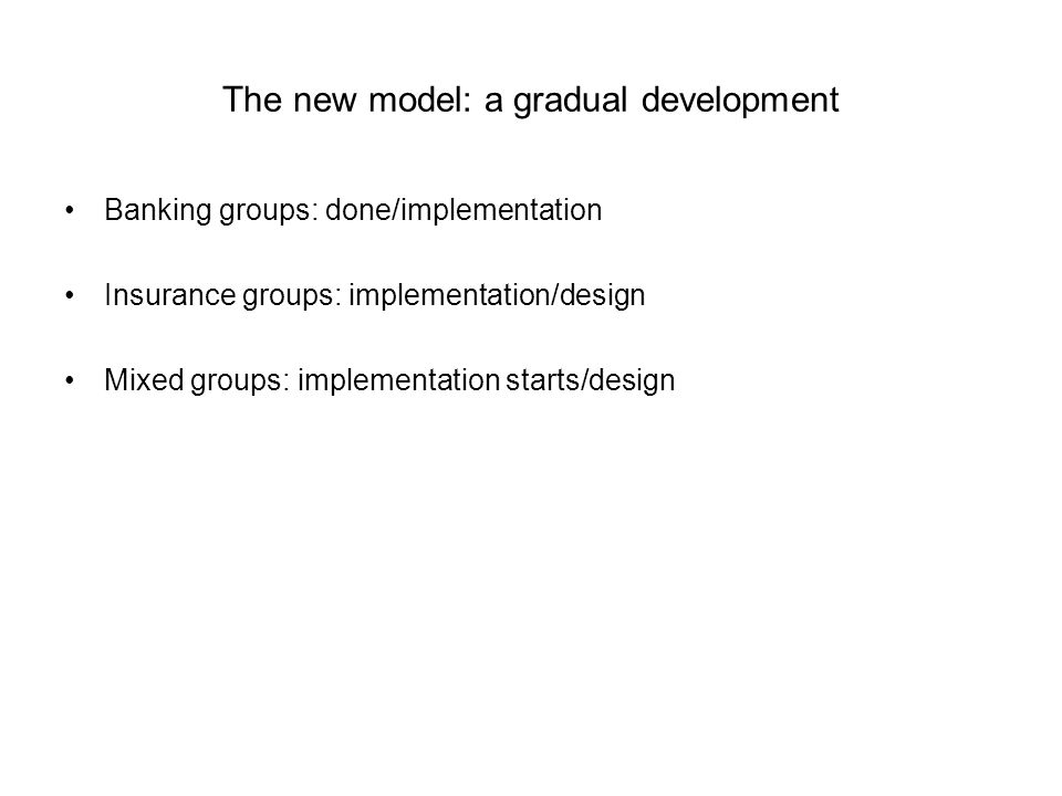 The new model: a gradual development Banking groups: done/implementation Insurance groups: implementation/design Mixed groups: implementation starts/d