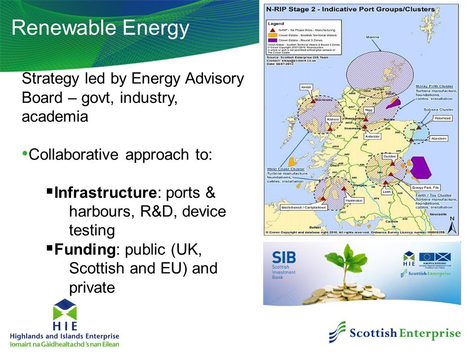Renewable Energy Strategy led by Energy Advisory Board – govt, industry, academia Collaborative approach to: Infrastructure: ports & harbours, R&D, de