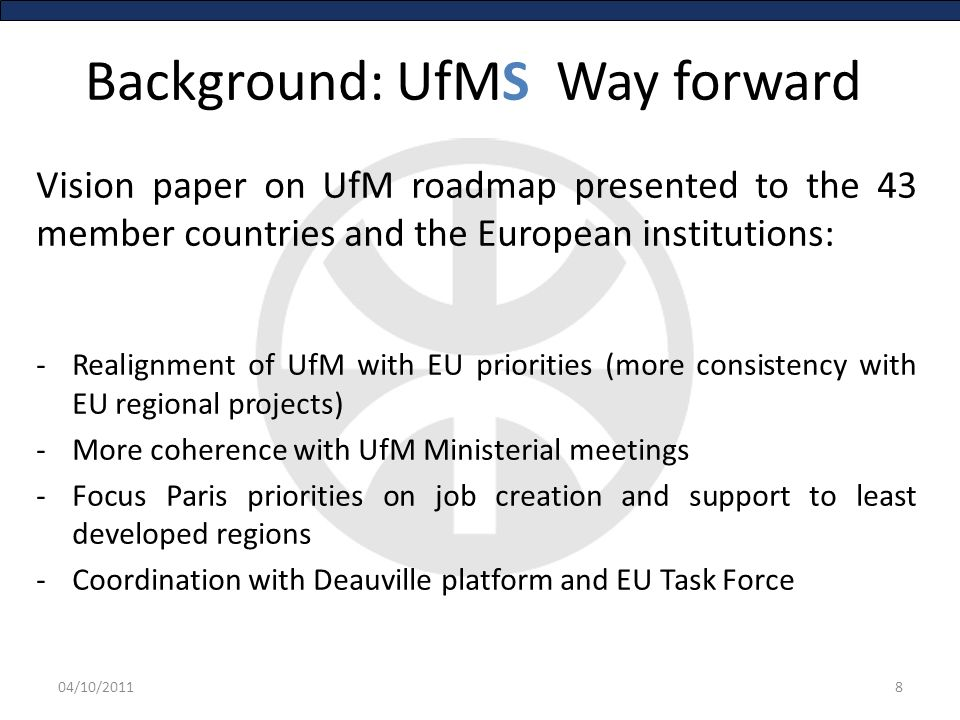 UfM State of play: Organisation Secretary General Y.