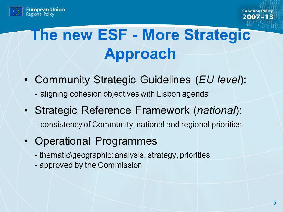 5 The new ESF - More Strategic Approach Community Strategic Guidelines (EU level): - aligning cohesion objectives with Lisbon agenda Strategic Reference Framework (national): - consistency of Community, national and regional priorities Operational Programmes - thematic\geographic: analysis, strategy, priorities - approved by the Commission