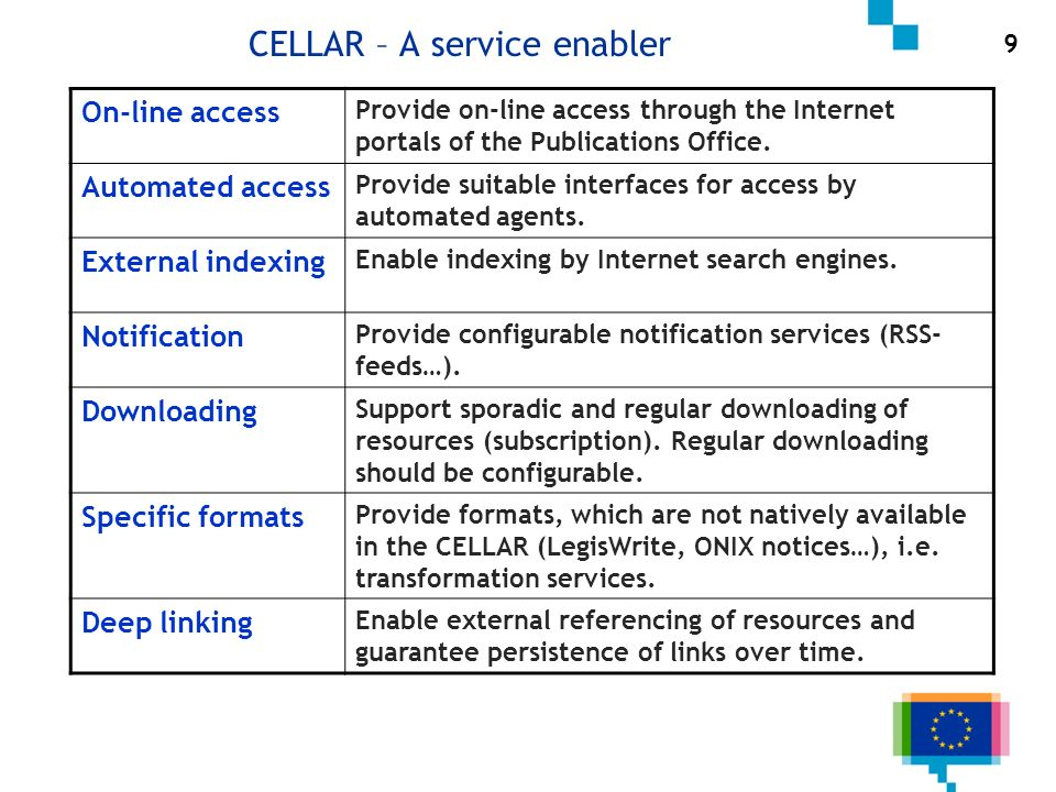 CELLAR – A service enabler 9 On-line access Provide on-line access through the Internet portals of the Publications Office. Automated access Provide s