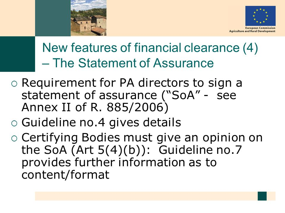 New features of financial clearance (4) – The Statement of Assurance Requirement for PA directors to sign a statement of assurance (SoA - see Annex II