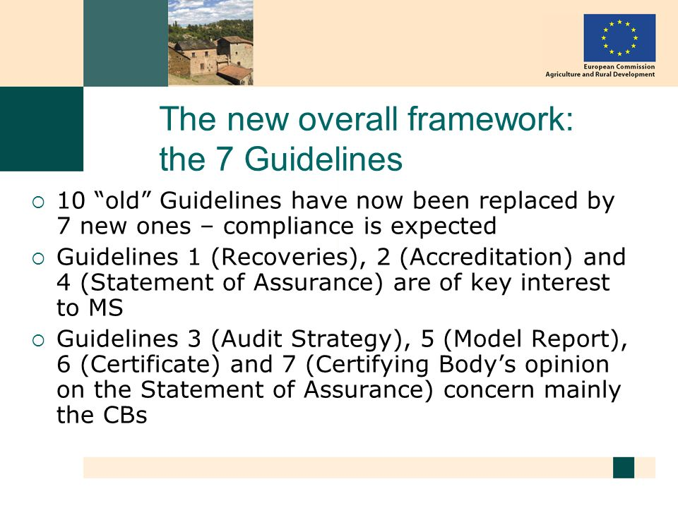 The new overall framework: the 7 Guidelines 10 old Guidelines have now been replaced by 7 new ones – compliance is expected Guidelines 1 (Recoveries),