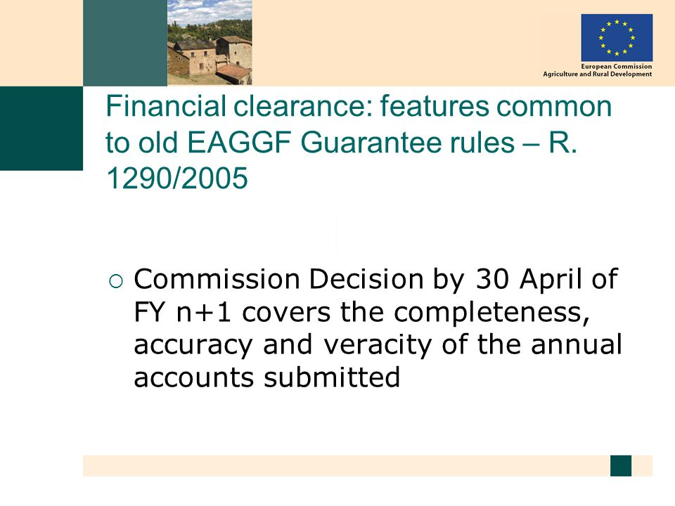 Financial clearance: features common to old EAGGF Guarantee rules – R.
