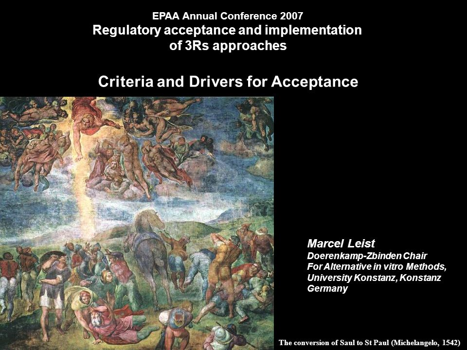 The conversion of Saul to St Paul (Michelangelo, 1542) Marcel Leist Doerenkamp-Zbinden Chair For Alternative in vitro Methods, University Konstanz, Konstanz Germany EPAA Annual Conference 2007 Regulatory acceptance and implementation of 3Rs approaches Criteria and Drivers for Acceptance