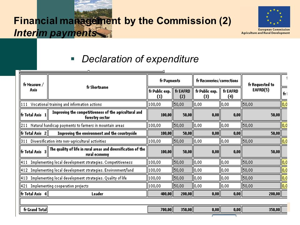 13 Financial management by the Commission (2) Interim payments Declaration of expenditure