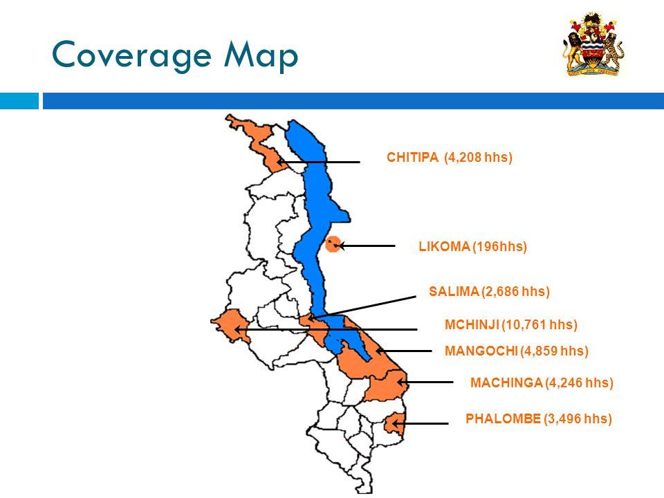 Coverage Map MCHINJI (10,761 hhs) SALIMA (2,686 hhs) MACHINGA (4,246 hhs) PHALOMBE (3,496 hhs) MANGOCHI (4,859 hhs) CHITIPA (4,208 hhs) LIKOMA (196hhs)