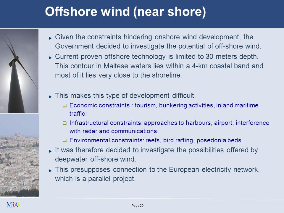 Page 19 Large scale wind Offshore wind potential, possibilities and constraints