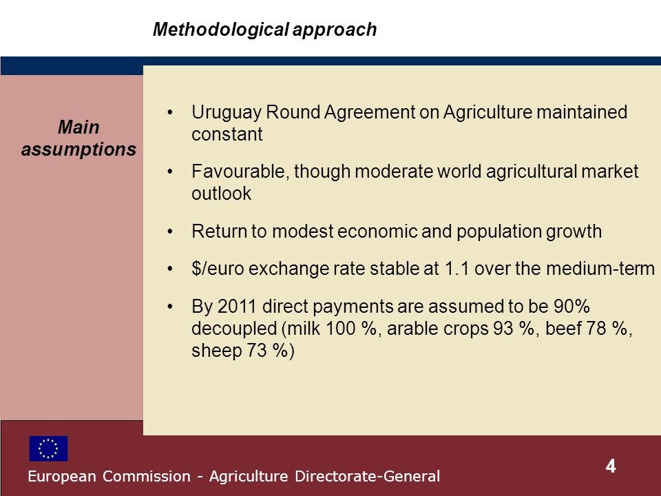 Methodological approach Uruguay Round Agreement on Agriculture maintained constant Favourable, though moderate world agricultural market outlook Return to modest economic and population growth $/euro exchange rate stable at 1.1 over the medium-term By 2011 direct payments are assumed to be 90% decoupled (milk 100 %, arable crops 93 %, beef 78 %, sheep 73 %) Main assumptions 4 European Commission - Agriculture Directorate-General