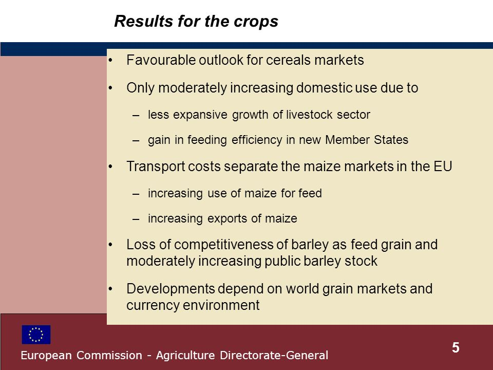 Results for the crops Favourable outlook for cereals markets Only moderately increasing domestic use due to –less expansive growth of livestock sector