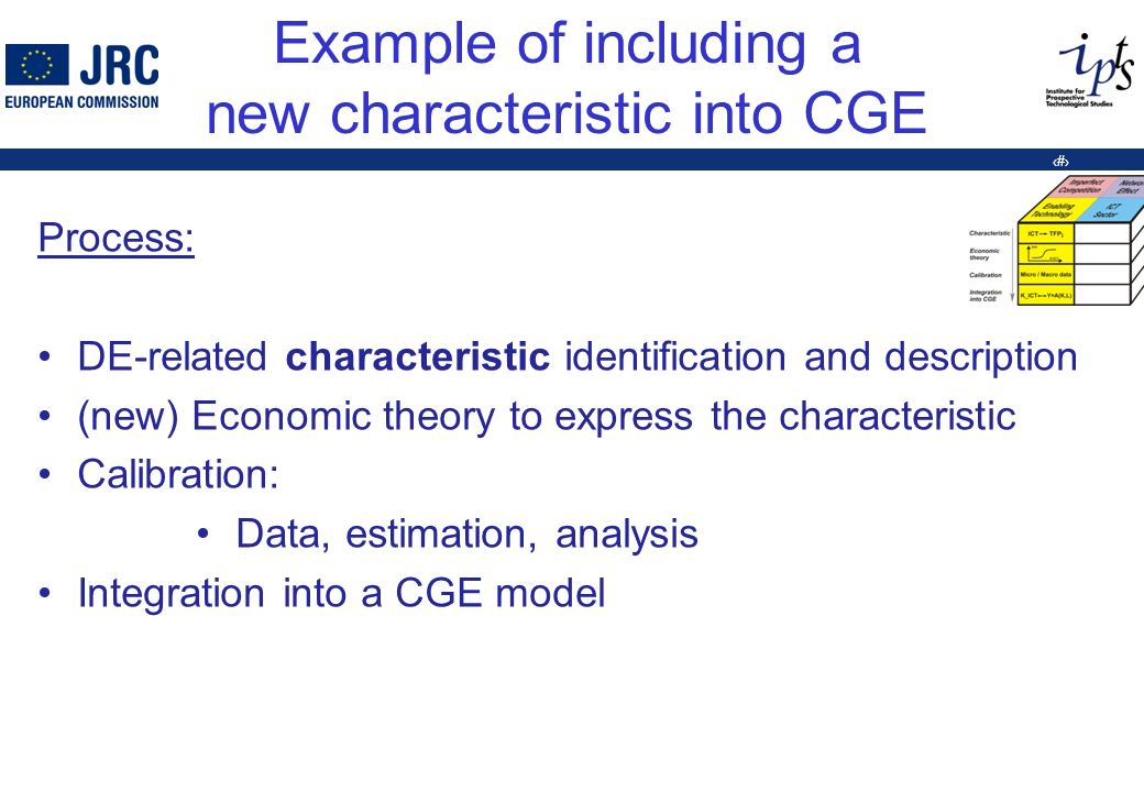 8 Example of including a new characteristic into CGE Process: DE-related characteristic identification and description (new) Economic theory to express the characteristic Calibration: Data, estimation, analysis Integration into a CGE model
