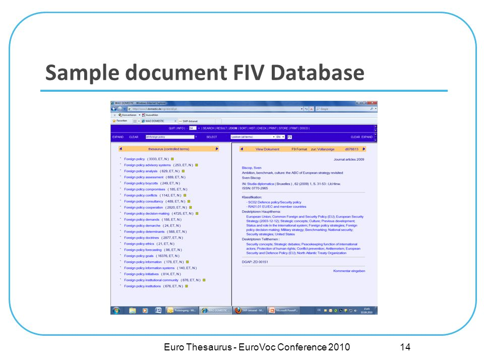 Sample document FIV Database Euro Thesaurus - EuroVoc Conference 2010 14