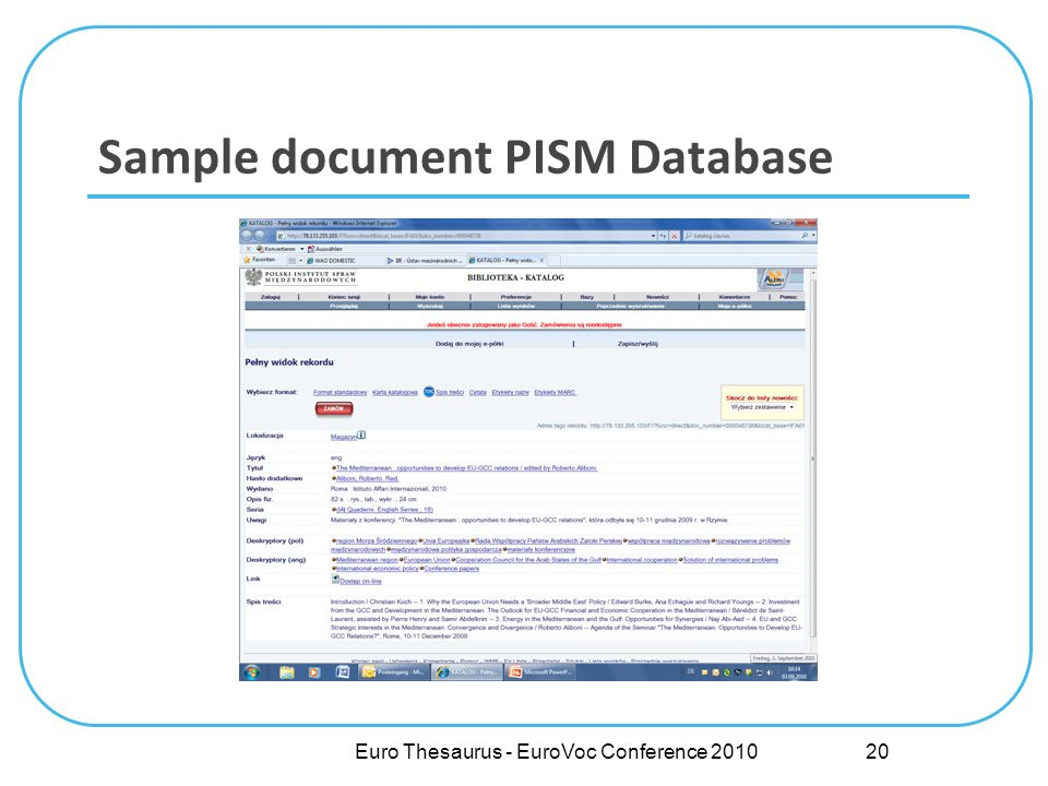 Sample document PISM Database Euro Thesaurus - EuroVoc Conference 2010 20