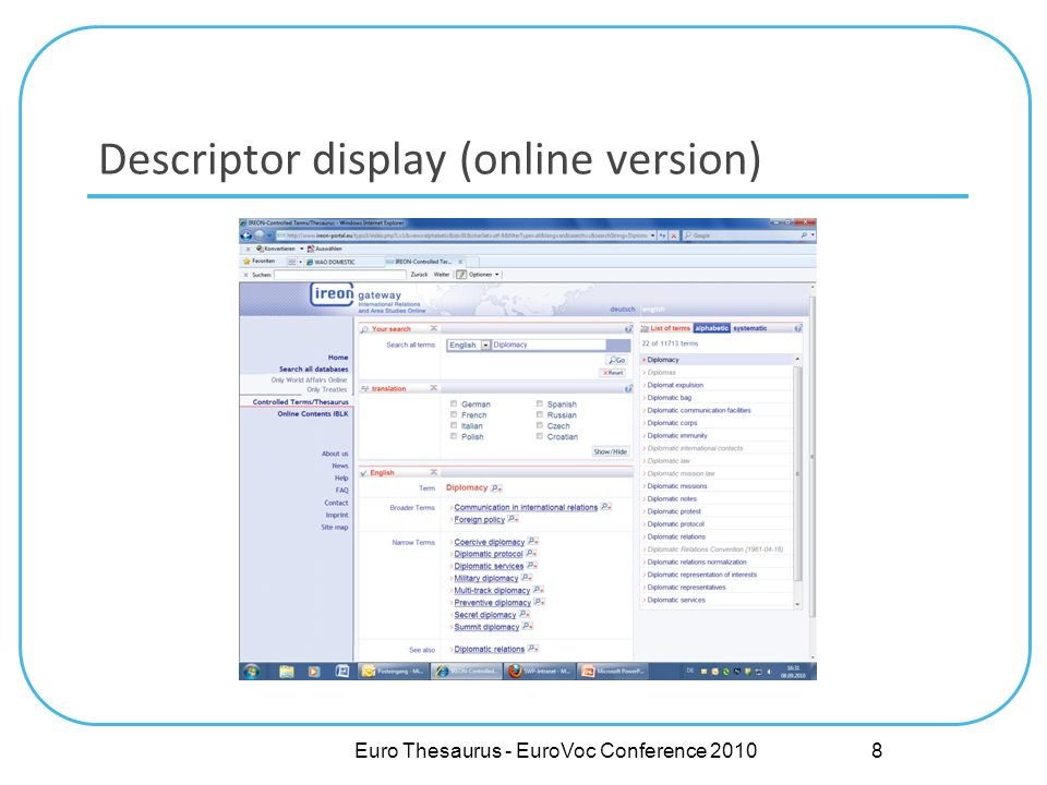 Descriptor display (online version) Euro Thesaurus - EuroVoc Conference 2010 8