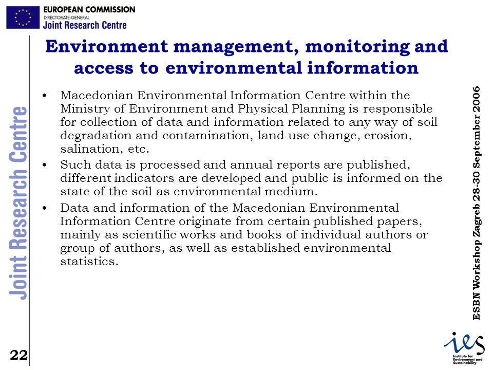 22 ESBN Workshop Zagreb 28-30 September 2006 Environment management, monitoring and access to environmental information Macedonian Environmental Infor