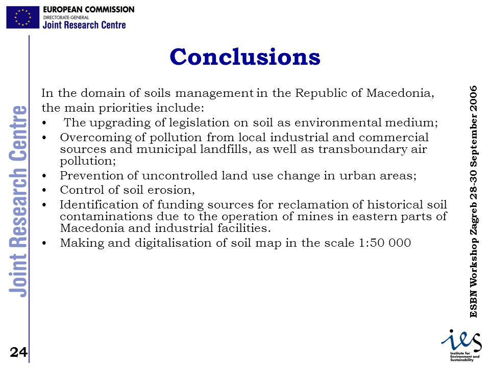 24 ESBN Workshop Zagreb 28-30 September 2006 Conclusions In the domain of soils management in the Republic of Macedonia, the main priorities include: