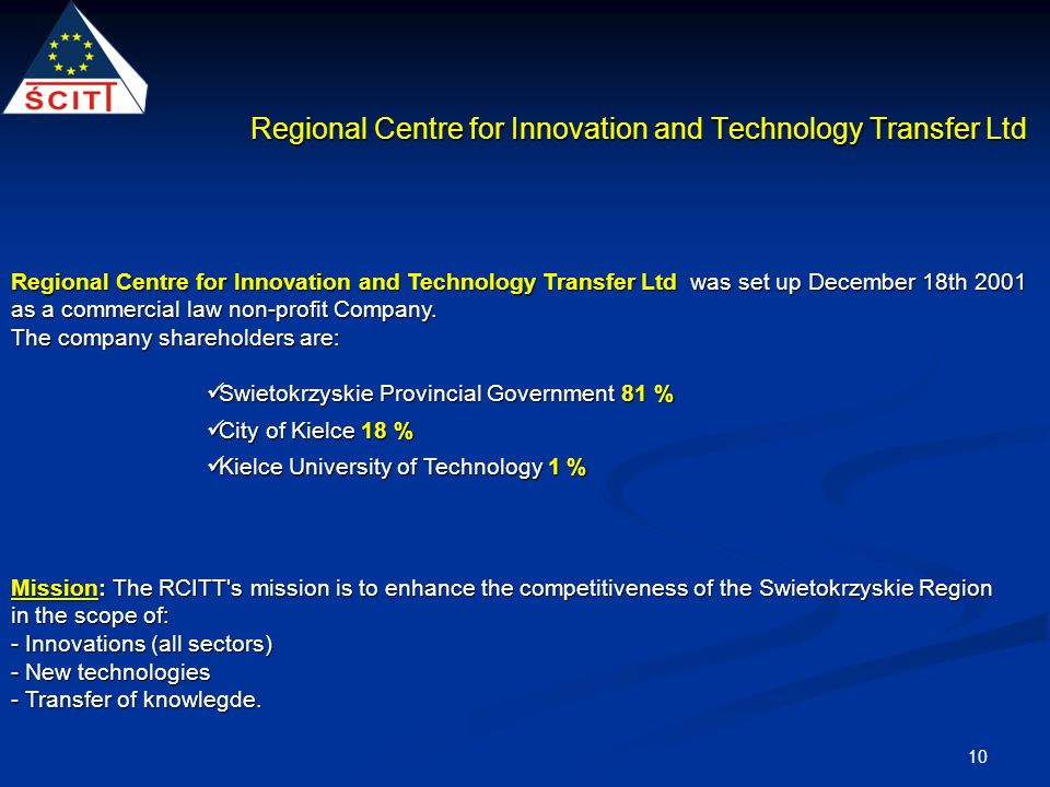 10 Regional Centre for Innovation and Technology Transfer Ltd was set up December 18th 2001 as a commercial law non-profit Company.