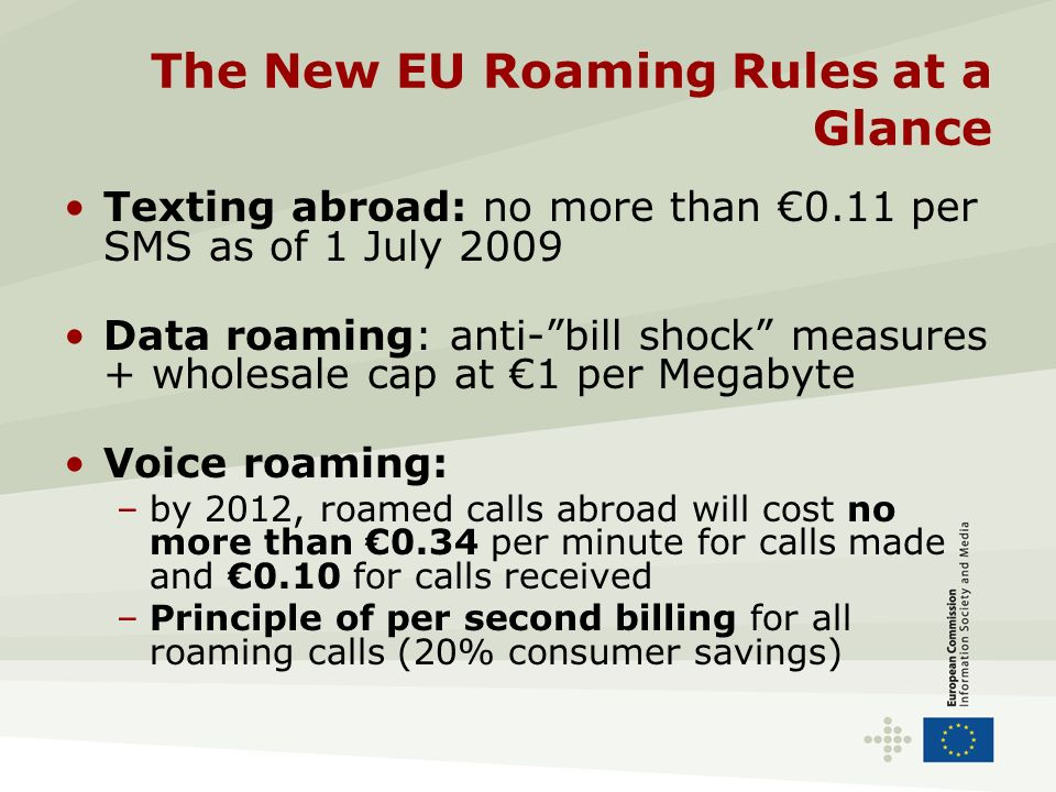 The New EU Roaming Rules at a Glance Texting abroad: no more than 0.11 per SMS as of 1 July 2009 Data roaming: anti-bill shock measures + wholesale ca