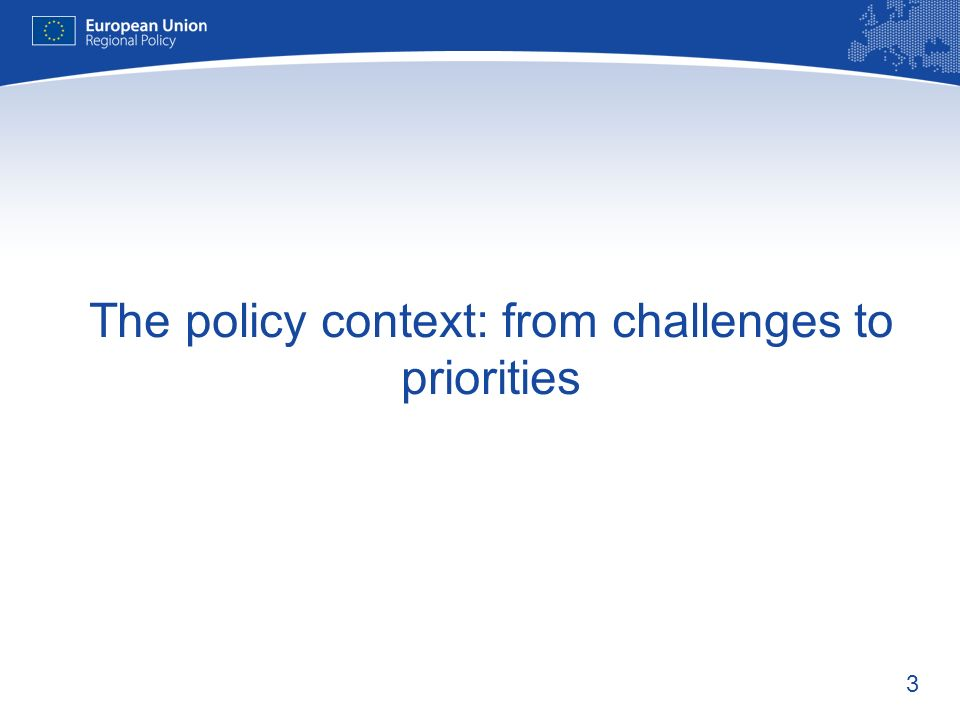 3 The policy context: from challenges to priorities