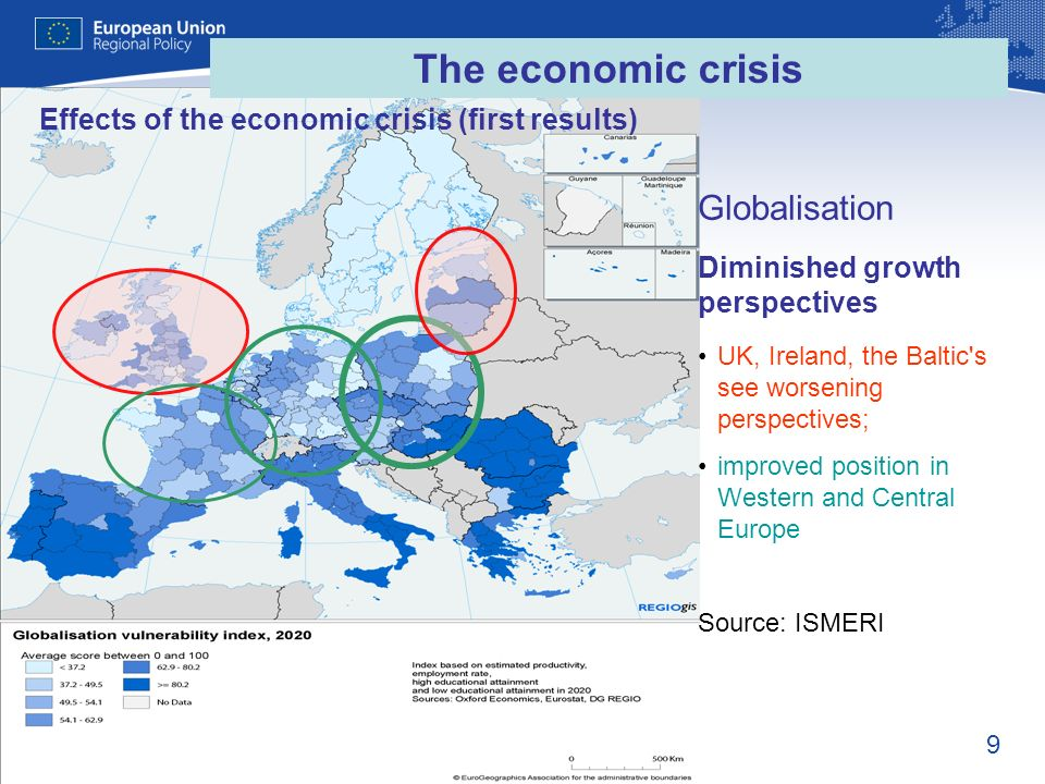 9 Globalisation UK, Ireland, the Baltic's see worsening perspectives; improved position in Western and Central Europe Source: ISMERI Effects of the ec