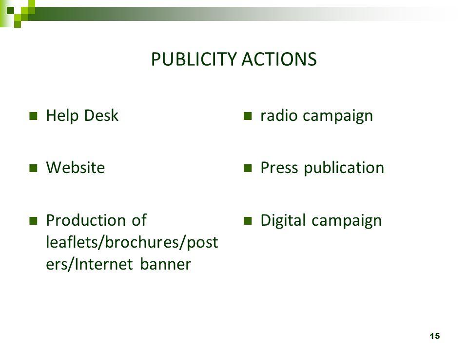 PUBLICITY ACTIONS Help Desk Website Production of leaflets/brochures/post ers/Internet banner radio campaign Press publication Digital campaign 15