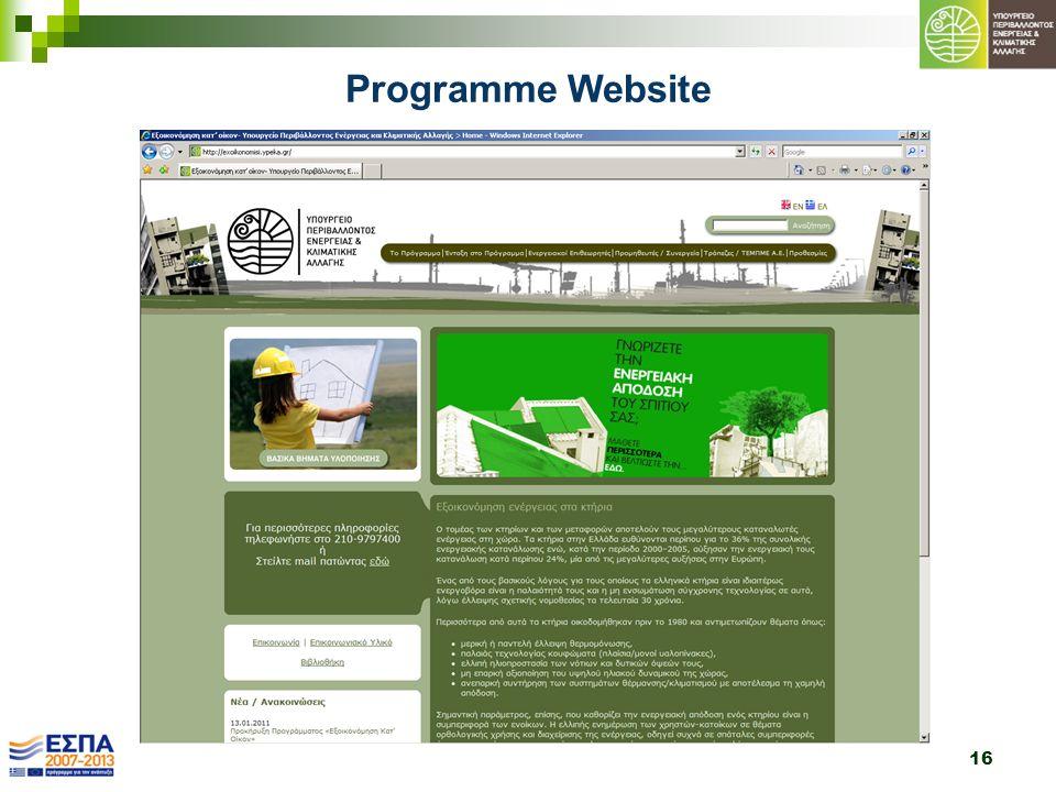 16 Programme Website