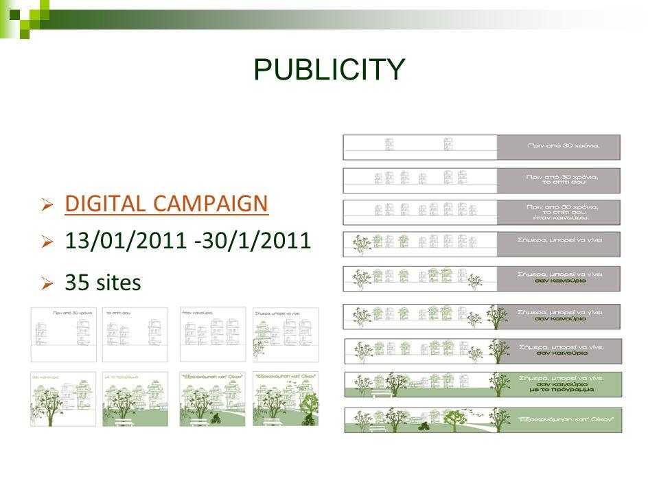 PUBLICITY DIGITAL CAMPAIGN 13/01/2011 -30/1/2011 35 sites