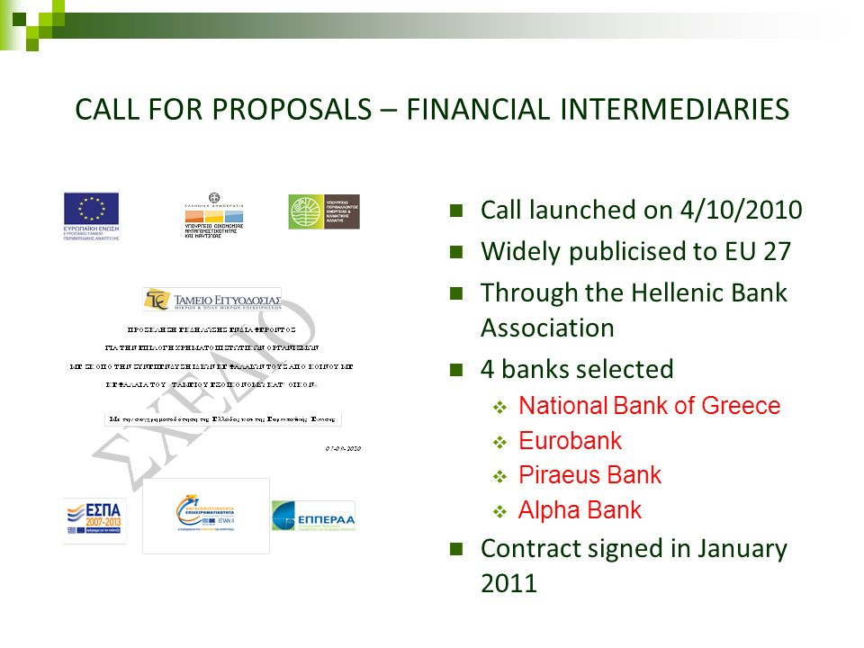 CALL FOR PROPOSALS – FINANCIAL INTERMEDIARIES Call launched on 4/10/2010 Widely publicised to EU 27 Through the Hellenic Bank Association 4 banks sele