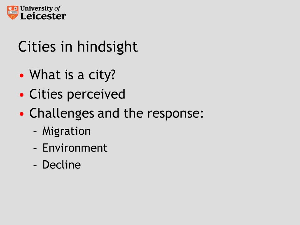 Cities in hindsight What is a city.