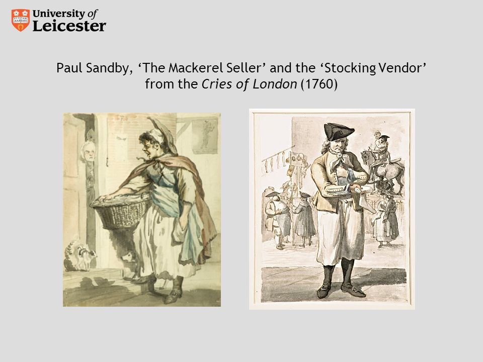 Paul Sandby, The Mackerel Seller and the Stocking Vendor from the Cries of London (1760)