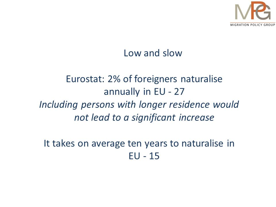 Percentage of naturalised citizens among non-EU-born immigrants, 2008, http://ind.eudo-citizenship.eu/acit/topic/citacq Naturalisation is surprisingly low Certain immigrants are less likely to naturalise, but policies explain a lot of the difference