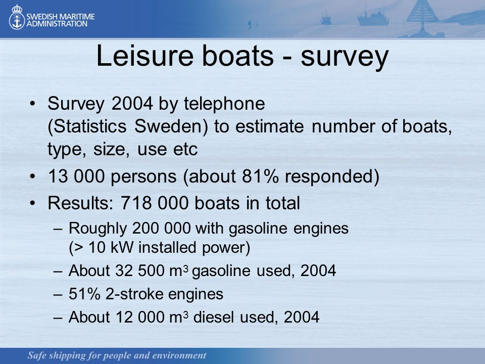 3 Leisure boats - survey Survey 2004 by telephone (Statistics Sweden) to estimate number of boats, type, size, use etc 13 000 persons (about 81% responded) Results: 718 000 boats in total –Roughly 200 000 with gasoline engines (> 10 kW installed power) –About 32 500 m 3 gasoline used, 2004 –51% 2-stroke engines –About 12 000 m 3 diesel used, 2004