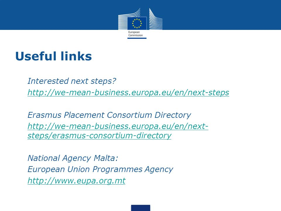 Useful links Interested next steps.