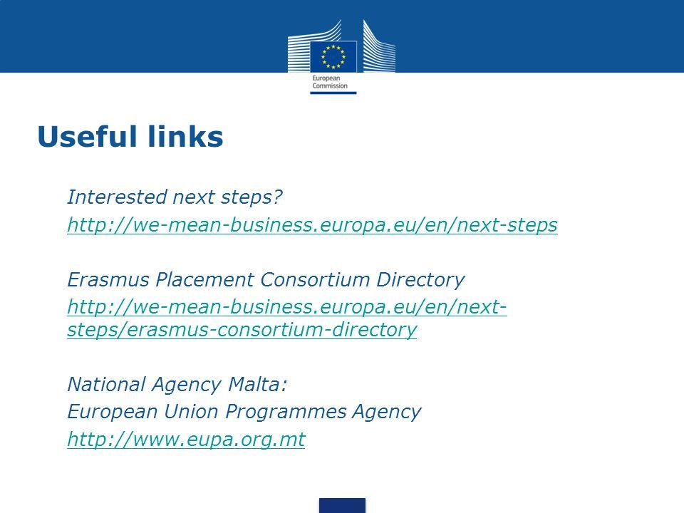 Useful links Interested next steps? http://we-mean-business.europa.eu/en/next-steps Erasmus Placement Consortium Directory http://we-mean-business.eur