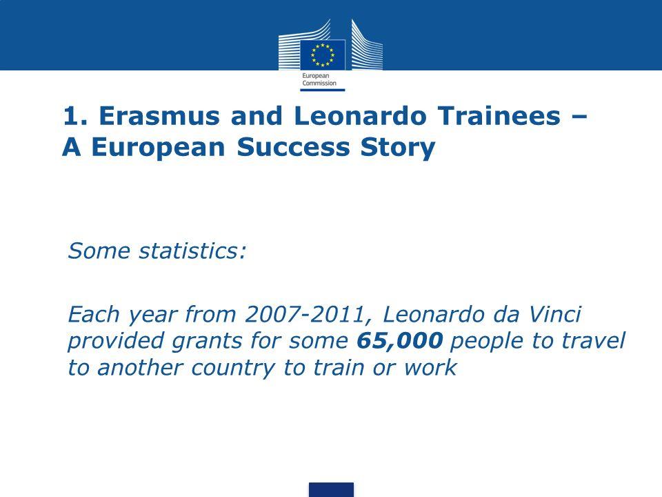 1. Erasmus and Leonardo Trainees – A European Success Story Some statistics: Each year from 2007-2011, Leonardo da Vinci provided grants for some 65,0