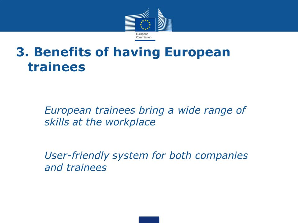 3. Benefits of having European trainees European trainees bring a wide range of skills at the workplace User-friendly system for both companies and tr