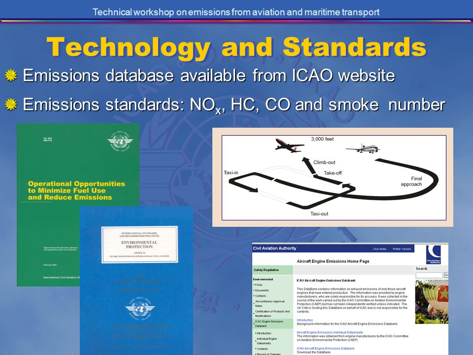Technical workshop on emissions from aviation and maritime transport Technology and Standards Emissions database available from ICAO website Emissions standards: NO x, HC, CO and smoke number