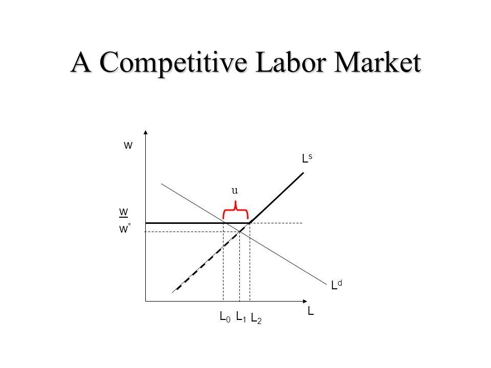 A Competitive Labor Market w w L0L0 L LsLs L1L1 w*w* LdLd u L2L2