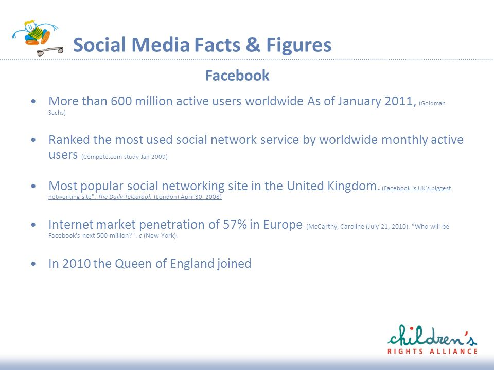 Social Media Facts & Figures More than 600 million active users worldwide As of January 2011, (Goldman Sachs) Ranked the most used social network service by worldwide monthly active users (Compete.com study Jan 2009) Most popular social networking site in the United Kingdom.