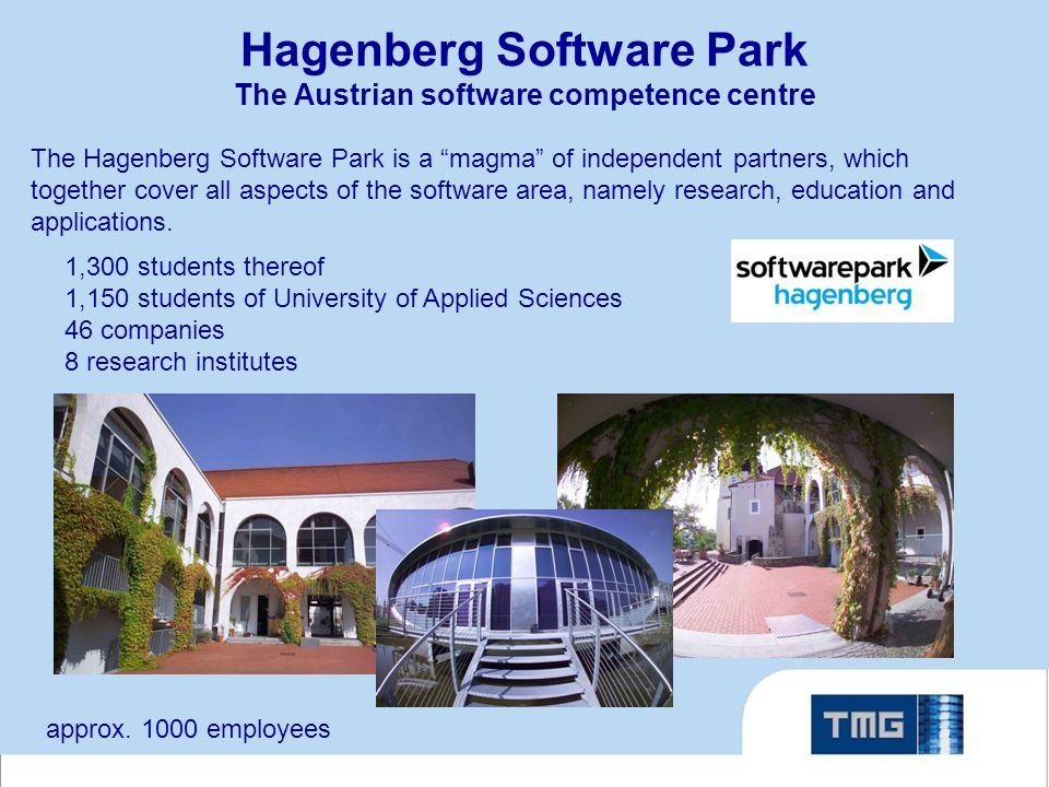Hagenberg Software Park The Austrian software competence centre The Hagenberg Software Park is a magma of independent partners, which together cover all aspects of the software area, namely research, education and applications.