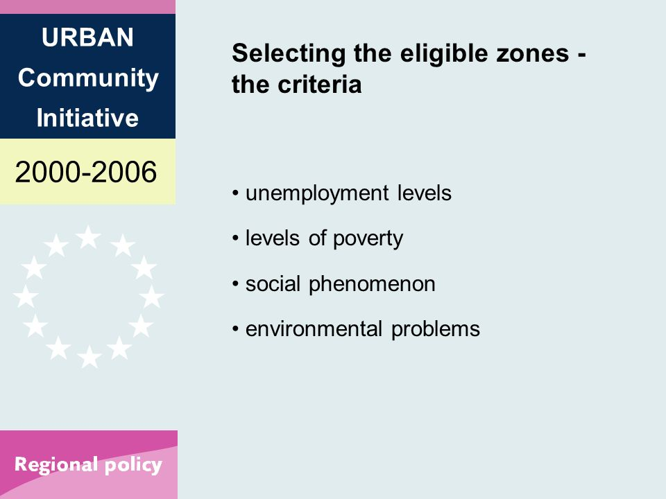 2000-2006 URBAN Community Initiative Selecting the eligible zones - the criteria unemployment levels levels of poverty social phenomenon environmental problems