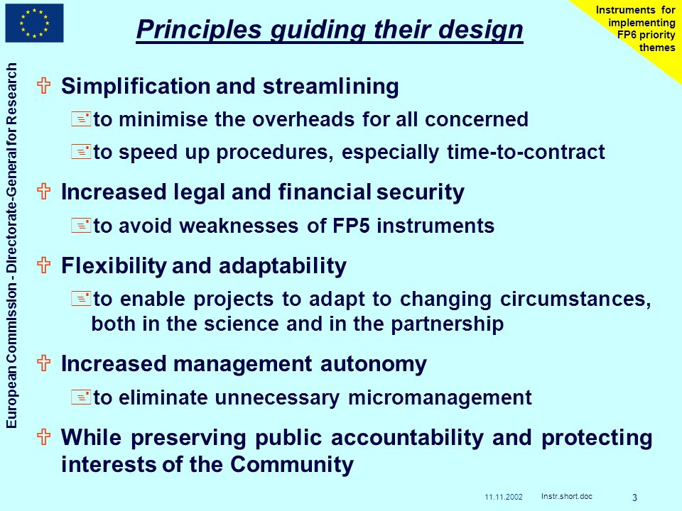 11.11.2002 European Commission - Directorate-General for Research Instr.short.doc 3 Instruments for implementing FP6 priority themes Principles guiding their design USimplification and streamlining +to minimise the overheads for all concerned +to speed up procedures, especially time-to-contract UIncreased legal and financial security +to avoid weaknesses of FP5 instruments UFlexibility and adaptability +to enable projects to adapt to changing circumstances, both in the science and in the partnership UIncreased management autonomy +to eliminate unnecessary micromanagement UWhile preserving public accountability and protecting interests of the Community