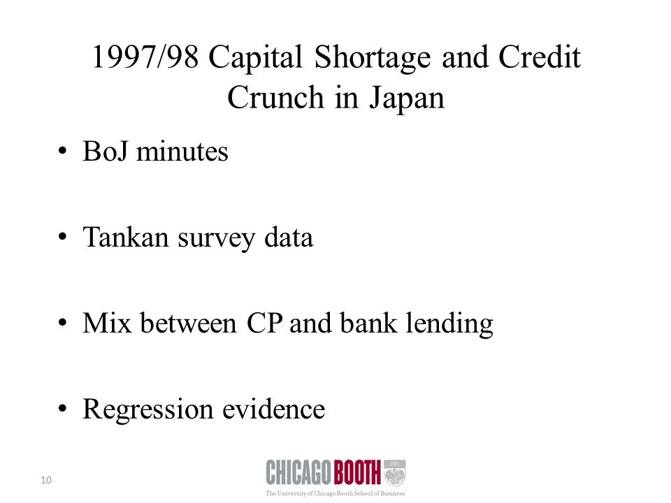 1997/98 Capital Shortage and Credit Crunch in Japan BoJ minutes Tankan survey data Mix between CP and bank lending Regression evidence 10